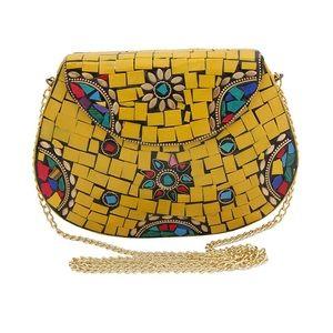 Handbags - Yellow Mosaic Detailed Brass Metal Clutch